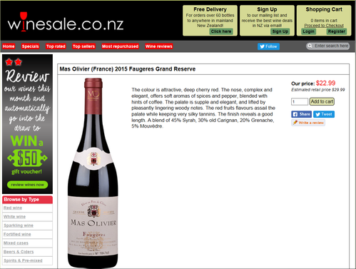 New-Zealand : Mas Olivier wines on sales !